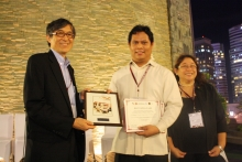 Dr. Rhandley Cajote received the Best Paper Award on behalf of Jason Disuanco, Vanessa Tan, and Dr. Franz de Leon