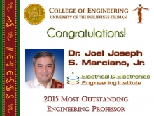 Dr. Joel Joseph S. Marciano, Jr. as this year's Most Outstanding Engineering Professor (Photo Credit: Engr. Terence Tumolva)