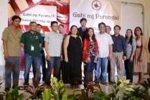 UP EEEI faculty members& Admin/REPS, with Dean Matias and other members of the awards committee, during the 2015 Admin/REPS Gabi ng Parangal