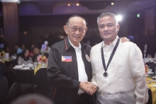 A congratulatory handshake from former Pres. Fidel V. Ramos (Photo from MWF fb page)