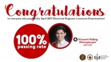 UP EEEI get 100% passing rate in April 2017 EE Board; EEE alumnus tops exam