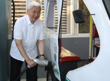 The ceremonial charging of E-trike by UP Pres. Pascual