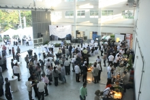 Guests as they enjoy the food and the showcased exhibits during the reception at the High Voltage Lab