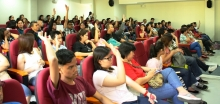 Students raised their hands when asked who among them passed the UPCAT to qualify in the BS ECE program