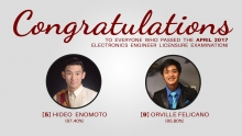 Two ECE alumni top April 2017 Board Exam