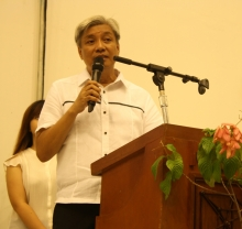 UPEEEAAI President Edwin Soliman as he delivers the President's Report, during the 13th Alumni Homecoming